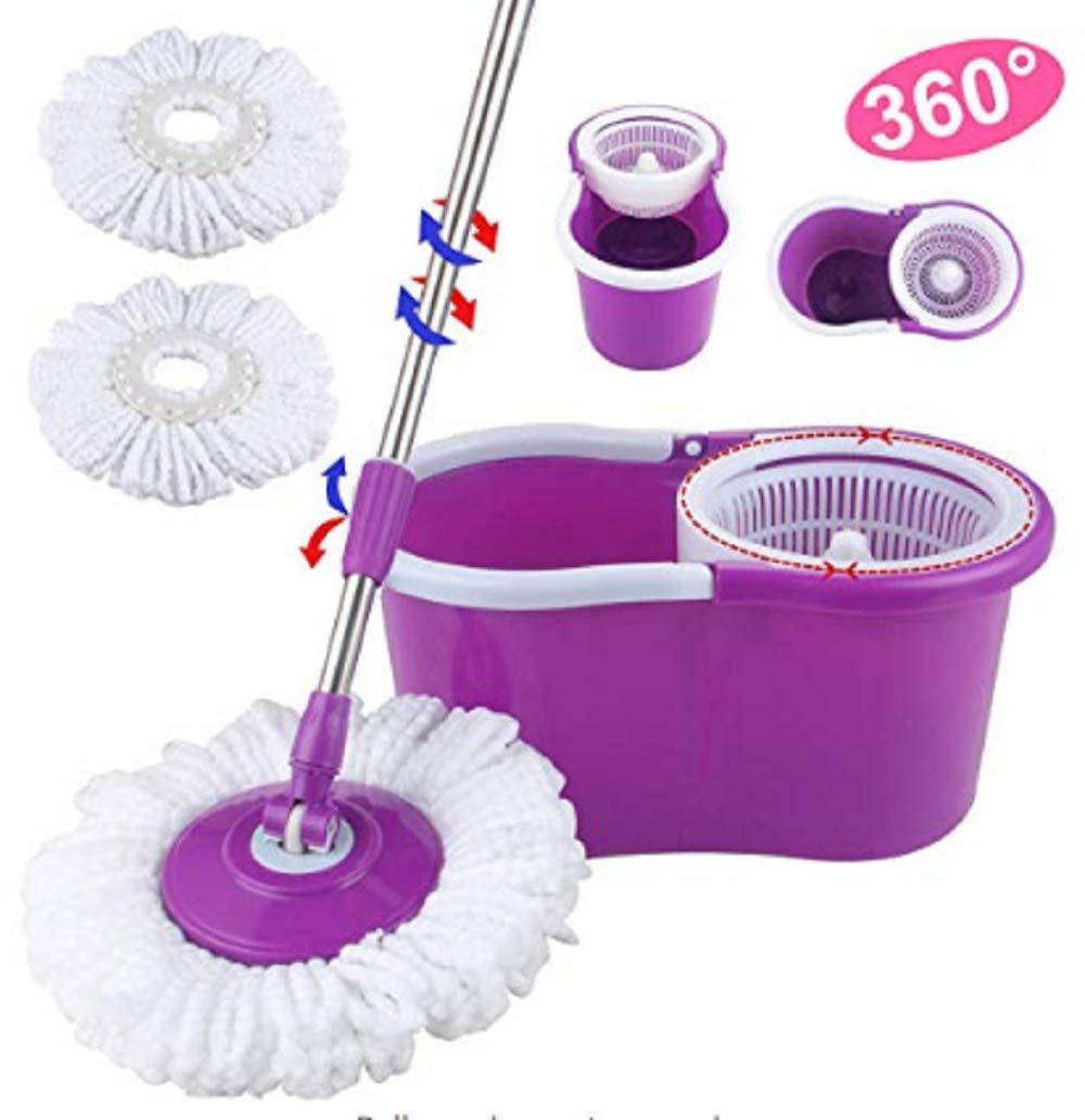 Gijoki 360° Wet Spin Mop Bucket System-Microfiber Spinning Mop 2 Microfiber Mop Heads Adjustable Handle-for Home Cleaning Bathroom Equipment(US Shipment) (Purple)