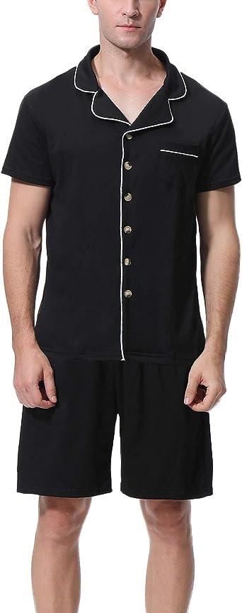 Aibrou Pijama Hombre Verano Corto Algodón Set, Pijama Casual Manga Corta, Camiseta y Pantalones Cómodo y Transpirable Ropa de Dormir S-XXL: Amazon.es: Ropa y accesorios