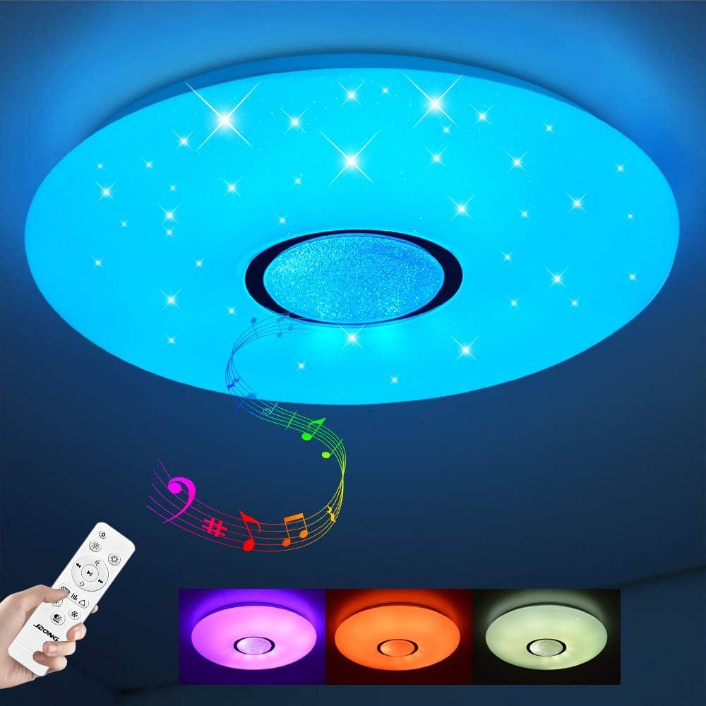 Plafonnier LED avec télécommande dimmable 24W Bluetooth plafonnier ciel étoilé, changement de couleur RGB blanc chaud/blanc froid IP44 étanche (sans APP)