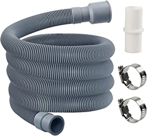 MyLifeUNIT Washing Machine Drain Hose, Washer Drain Hose Extension Kit with 1 Extension Adapter and 2 Hose Clamps, 6-Feet