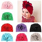 Adorable Baby Girls Hats Curly Flower Newborn Elastic Sretch Nursery Beanie Baby Cap (8 Pack #2)