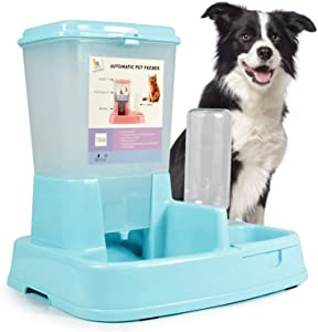 ASENVER 2-in-1 Pet Automatic Feeder Dog Food Water Dispensers with Large Capacity Food Container Gravity Water Bottle