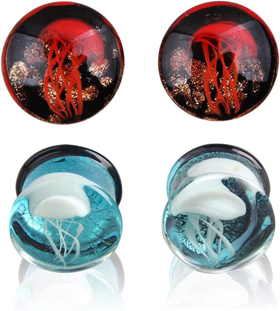 Glass Ocean Jellyfish Ear Plugs Gauges Tunnel Expanders Stretcher Unique Earrings Double Flared Piercings Body Jewelry Blue Red Set