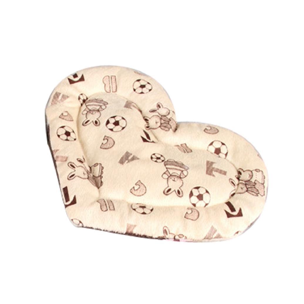 Pet Bed,Elevin(TM)Small Pet Animal Cage Mat Hedgehog Hamster Squirrel Mice Rats Sleeping Mat Princess Love Heart Fleece Velvet Elegant Lovely Warm Bed (Beige)