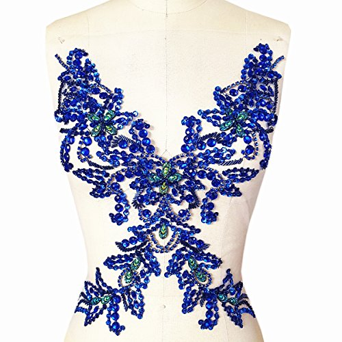 Unique Pure Handmade Beaded Sew on Rhinestones Sequins Beads Applique Crystals Patches 15.3x11.4″ Sewing Crastal For Wedding Evening Dress Accessory (blue)