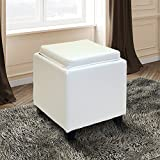 Armen Living LC530OTLEWH Rainbow Ottoman in White Bonded Leather and Black Wood Finish