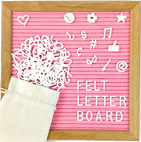 Pink Felt Letter Board by My Feltboard - Changeable Letter Board with Solid Oak Frame and Mounting Hook - 340 White Plastic Helvetica Characters with Free Letter Bag - 10x10 inches (Pink) (Solid Oak Spring)