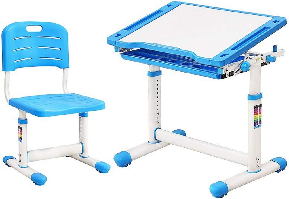 Blue Adjustable Height Children Study Students Desk with Tiltable Tabletop and Pull Out Storage Drawer School Home Workstation Writing Table Stool Kit for Boys Girls OKBOP Kids Desk and Chair Set
