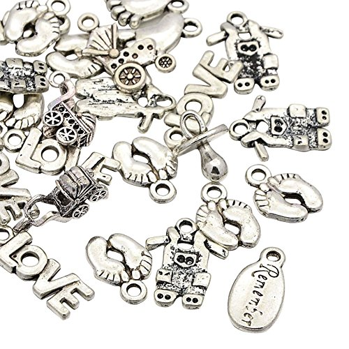 NBEADS 200g Mixed Tibetan Style Alloy Pendants for Baby Birth Christening Gifts Making,Antique Silver, 15~24x7.5~14x2~10mm, Hole: 2mm