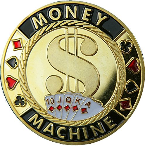 Pihappy Best Metal Good Lucky Souvenir Casino Poker Card Guard Cover Protector Chip Coin 1PC (Money Machine)