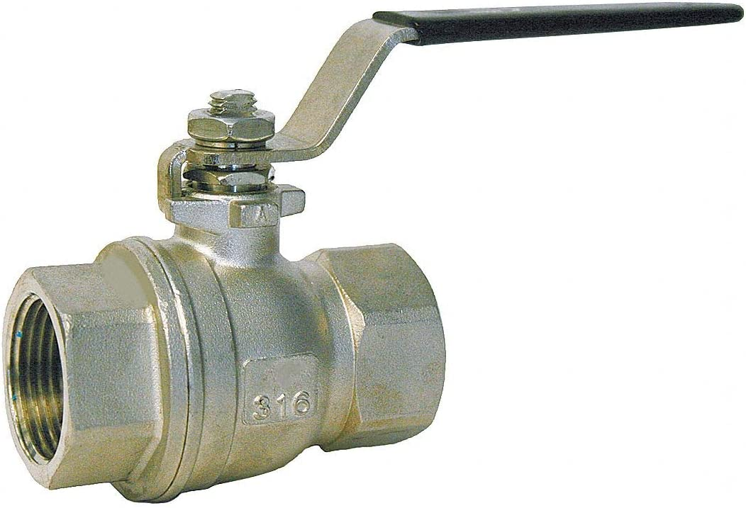 316 Stainless Steel FNPT x FNPT Ball Valve 1-1//4 Pipe Size Lever