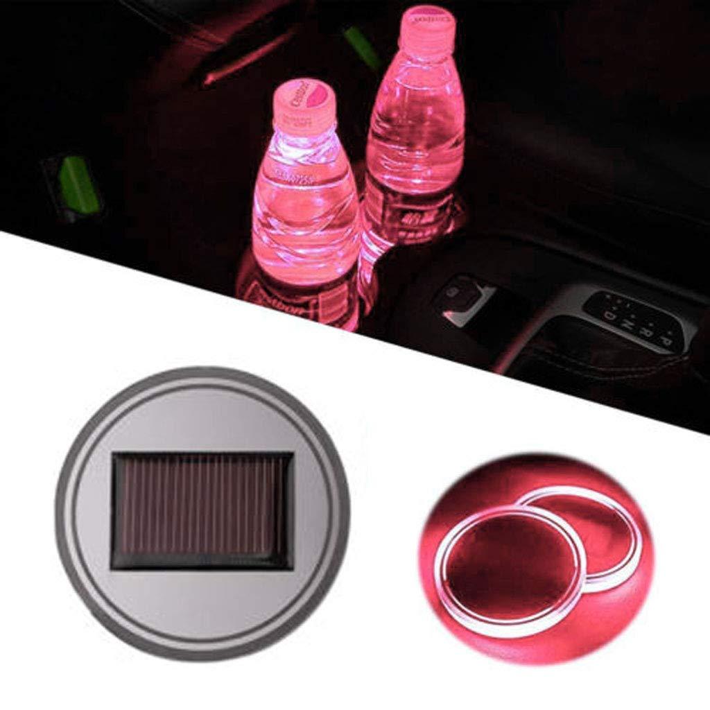 KESOTO Portabottiglie LED Auto Luce Pad Portabicchieri Auto bianca Portabicchiere Solare Universale Tappetino Auto Sottobicchieri