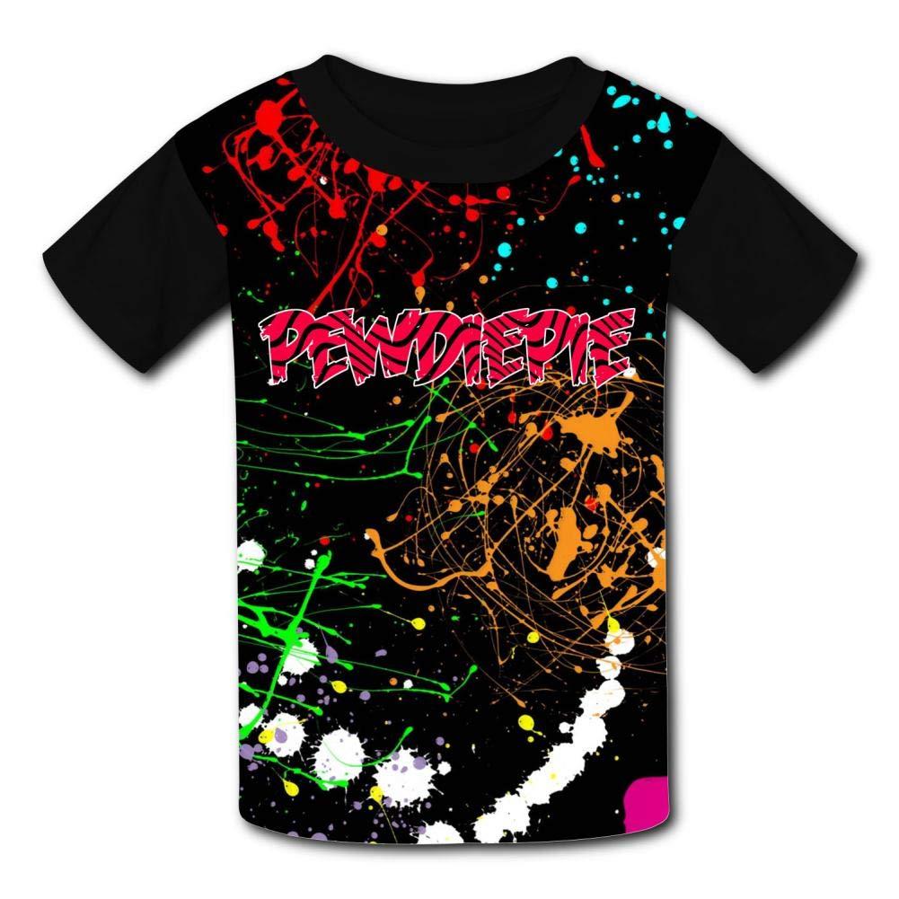 MOEYBOR Pew-Diep-IE Red Logo T-Shirts,Fashion Summer Tee for Kids//Teen//Boys//Girls