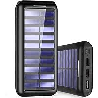 Cargador Portátil PLOCHY 24000mAh Cargador Móvil Portátil Batería Externa, Entrada Doble y 3 Puertos de Salida USB, Cargador Solar Power Bank para iPhone, iPad, Samsung, LG, y Otros Dispositivos(Negro)