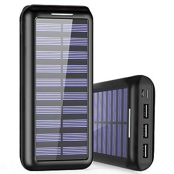Cargador Portátil PLOCHY 24000mAh Cargador Móvil Portátil Batería Externa, Entrada Doble y 3 Puertos de Salida USB, Cargador Solar Power Bank para ...