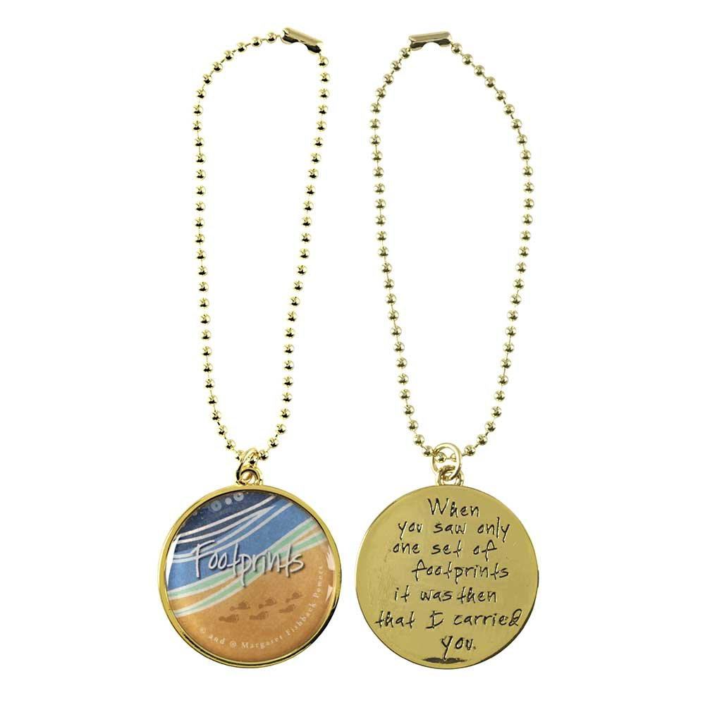 Dicksons Footprints In The Sand Gold Toned 6 Inch Zinc Alloy Auto Rearview Mirror Charm