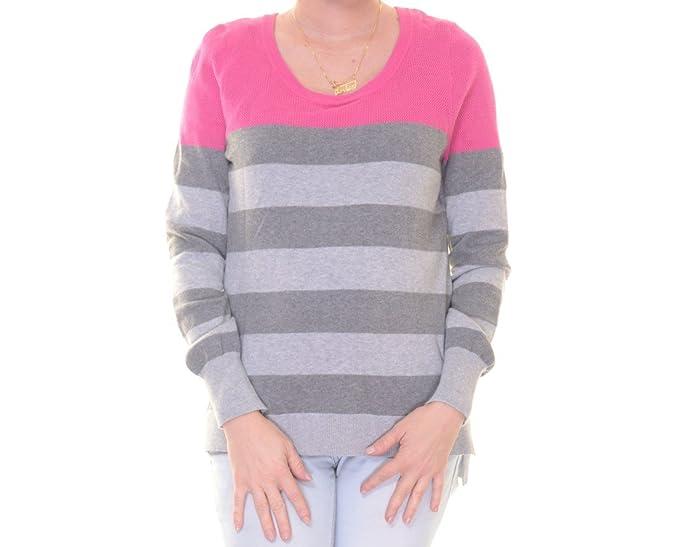 373744218d3 Amazon.com  PINK ROSE Juniors Contrast Striped Mesh Yoke Sweater  Clothing