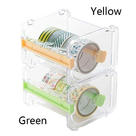 Decorativo decorativo japonés Washi, cinta adhesiva/cortadora de cinta transparente de escritorio con dispensador