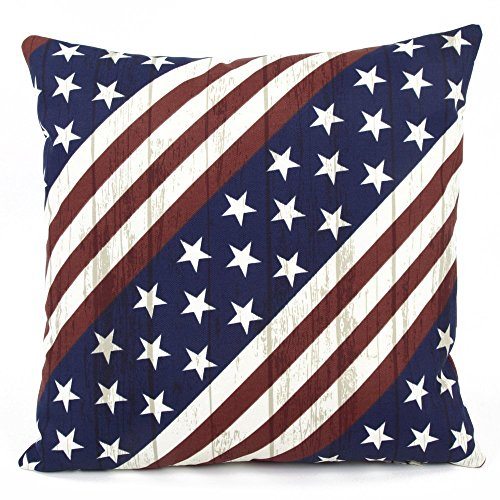 American Freedom USA Stars & Stripes Outdoor Decorative Handmade Pillow Cover, 18x18