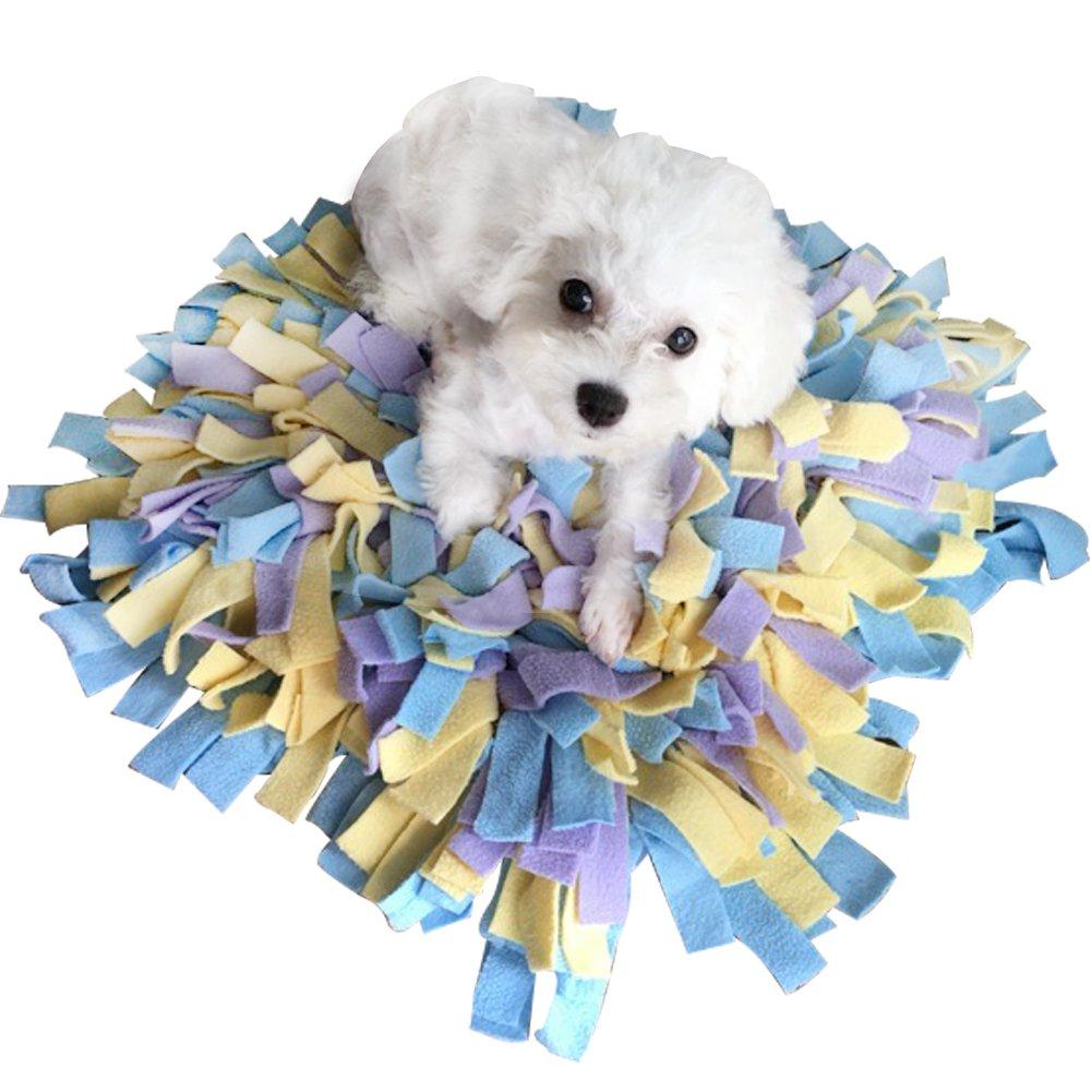 Creation Core Durable 18''x18'' Pet Dog Snuffle Mat Dog Training Feeding Mat - Encourages Natural Foraging Skills(Blue&Yellow&Purple)