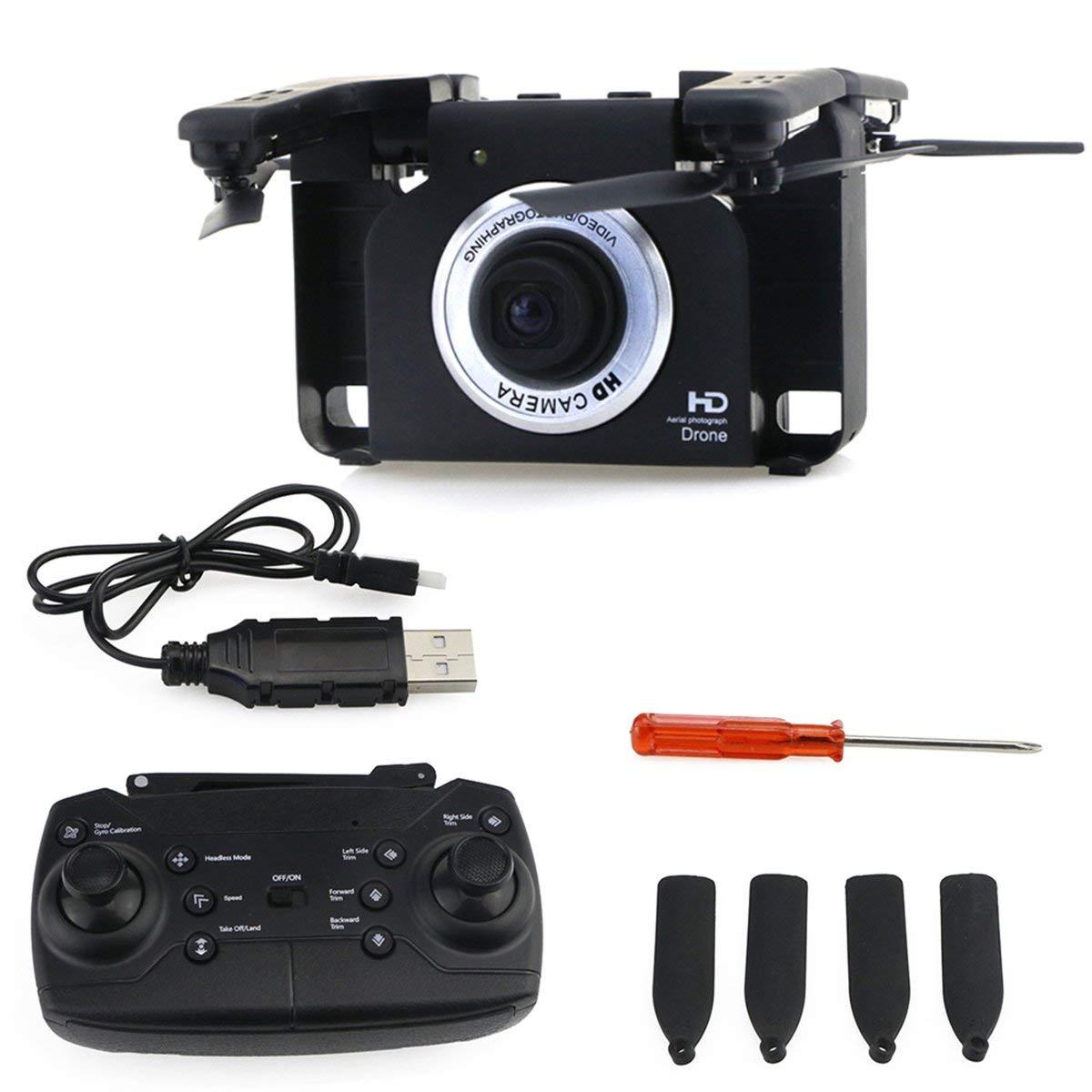 Gugutogo F6 720P Grandangolare WiFi HD Telecamera Cam FPV Pieghevole RC Drone Aircraft con Gesture Selfie modalità Headless One Key Return Nero