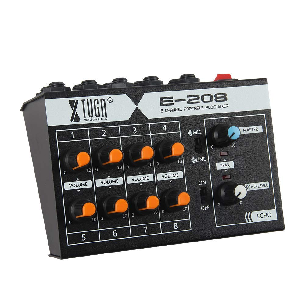 """XTUGA E-208 8 Mono Channel Mini Mixer with mono/echo mode, ¼"""" Inputs and outputs – battery powered, or use optional AC adapter Made in China"""