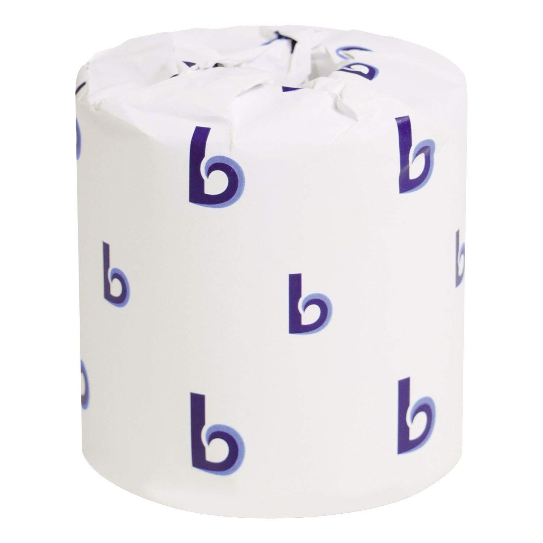 Boardwalk 6150 White Embossed 2-Ply Standard Toilet Tissue 2 500 Sheets per Roll Case of 96