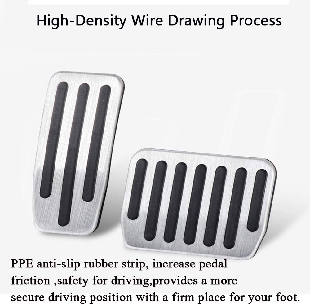 SILVER XITER No Drill Anti-Slip Aluminum Gas Brake Pedal Cover Foot Pedal Pads kit For Tesla Model 3 Accessories