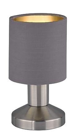 Tischleuchte Nachttischlampe Schirm Textil weiß Trio Tischlampe GARDA mit LED