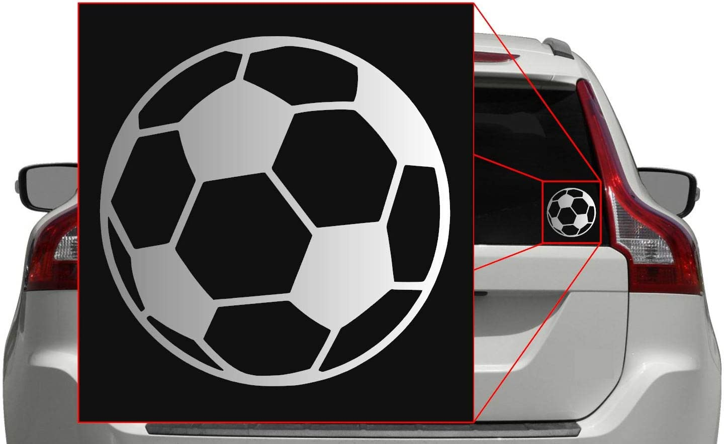 Vinyl Transfer Sticker Decal for Laptop//Car//Truck//Window//Bumper Pick Any Color 5in x 5in, Black Soccer Ball