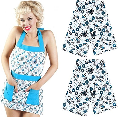 Sourpuss Brand - Kitchen Apron & Dish Towel Set - Retro Tea & Doughnuts Pattern (Includes 1 Apron & 2 Towels) (Tea Apron Pattern)
