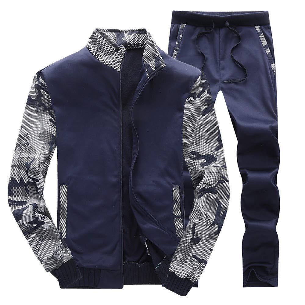 Men's Autumn Winter Fleece Camo Tracksuits Active Camo Jogging Suits Sweatsuits Jacket Coat +Pants Casual Sports