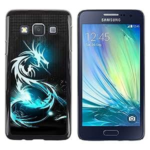 Be Good Phone Accessory // Dura Cáscara cubierta Protectora Caso Carcasa Funda de Protección para Samsung Galaxy A3 SM-A300 // Dragon Blue Black Metal Neon Tattoo