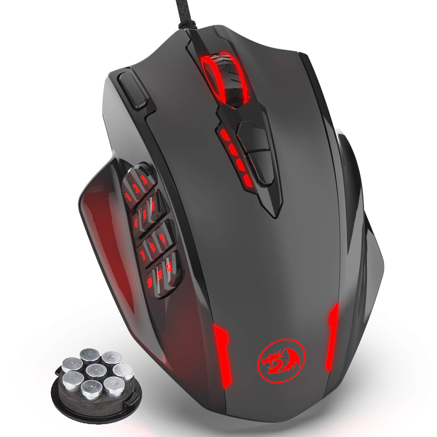 Redragon Impact RGB LED MMO Mouse with Side Buttons Laser Wired Gaming Mouse with 12,400DPI, High Precision, 19 Programmable Mouse Buttons