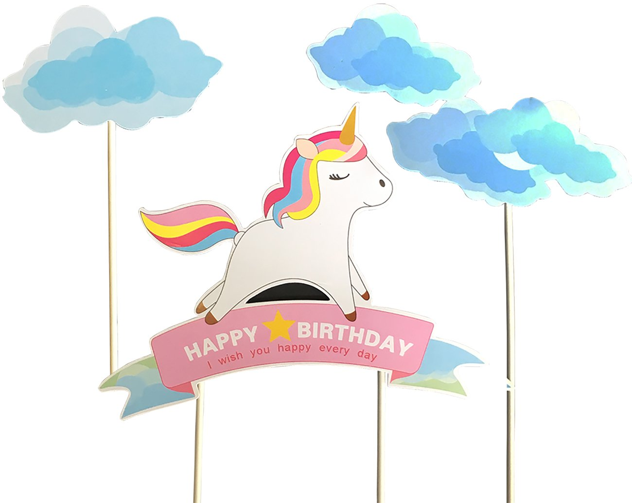 Blue Handmade Unicorn Birthday Cake Toppers, Cake Decorations for Kids Birthday Party Supplies 3