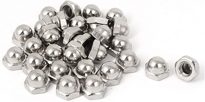 Uxcell a16042000ux0577 M8 x 1.25mm Pitch Carbon Steel Dome Head Hexagon Caps Cover Nuts DIN1587 30PCS