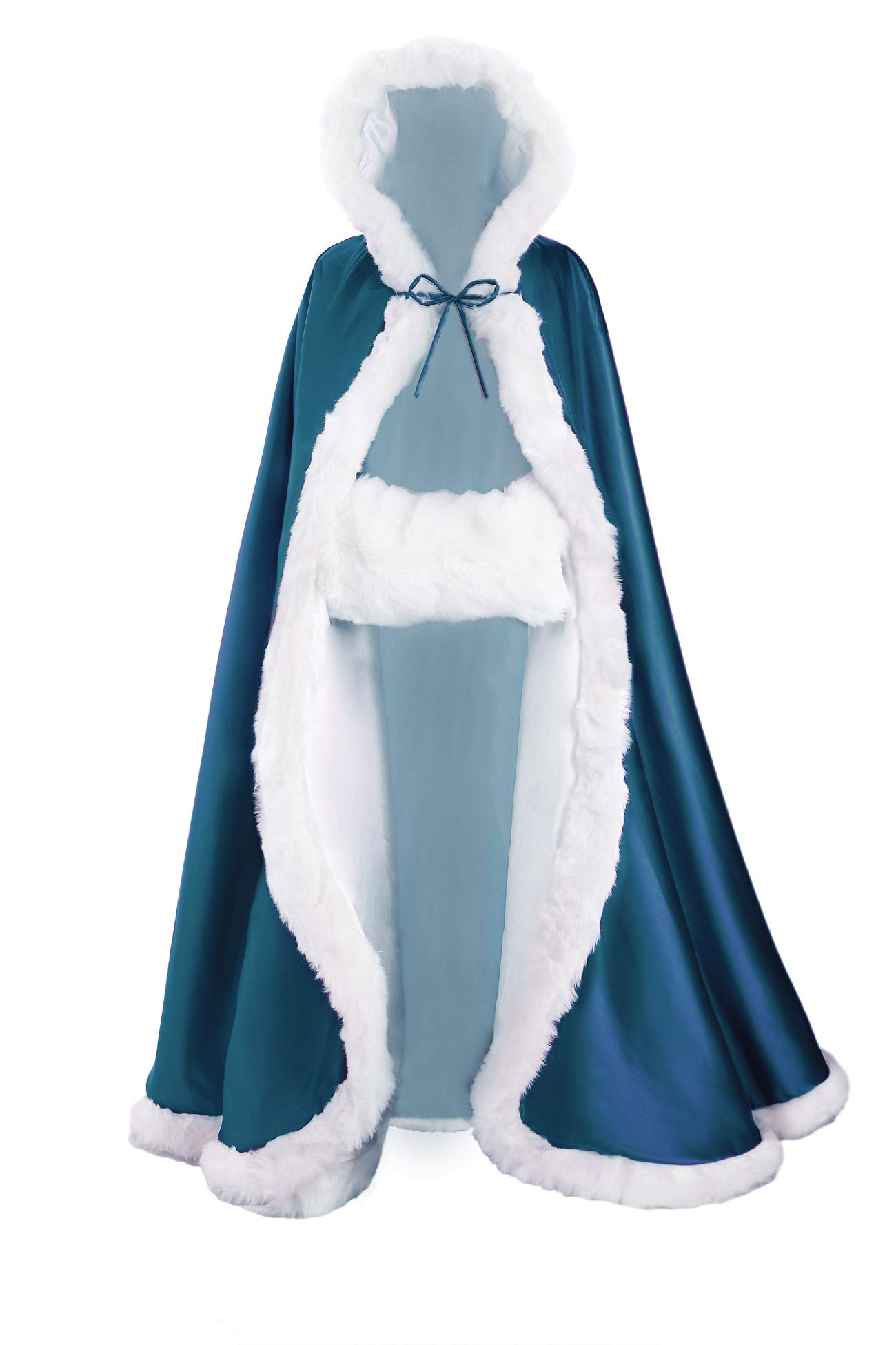 Wedding Cape Hooded Cloak for Bride Winter Reversible with Fur Trim Free Hand Muff Full Length 50 55 inches (19 Colors) (Length:55'', Peacock Blue) by BEAUTELICATE