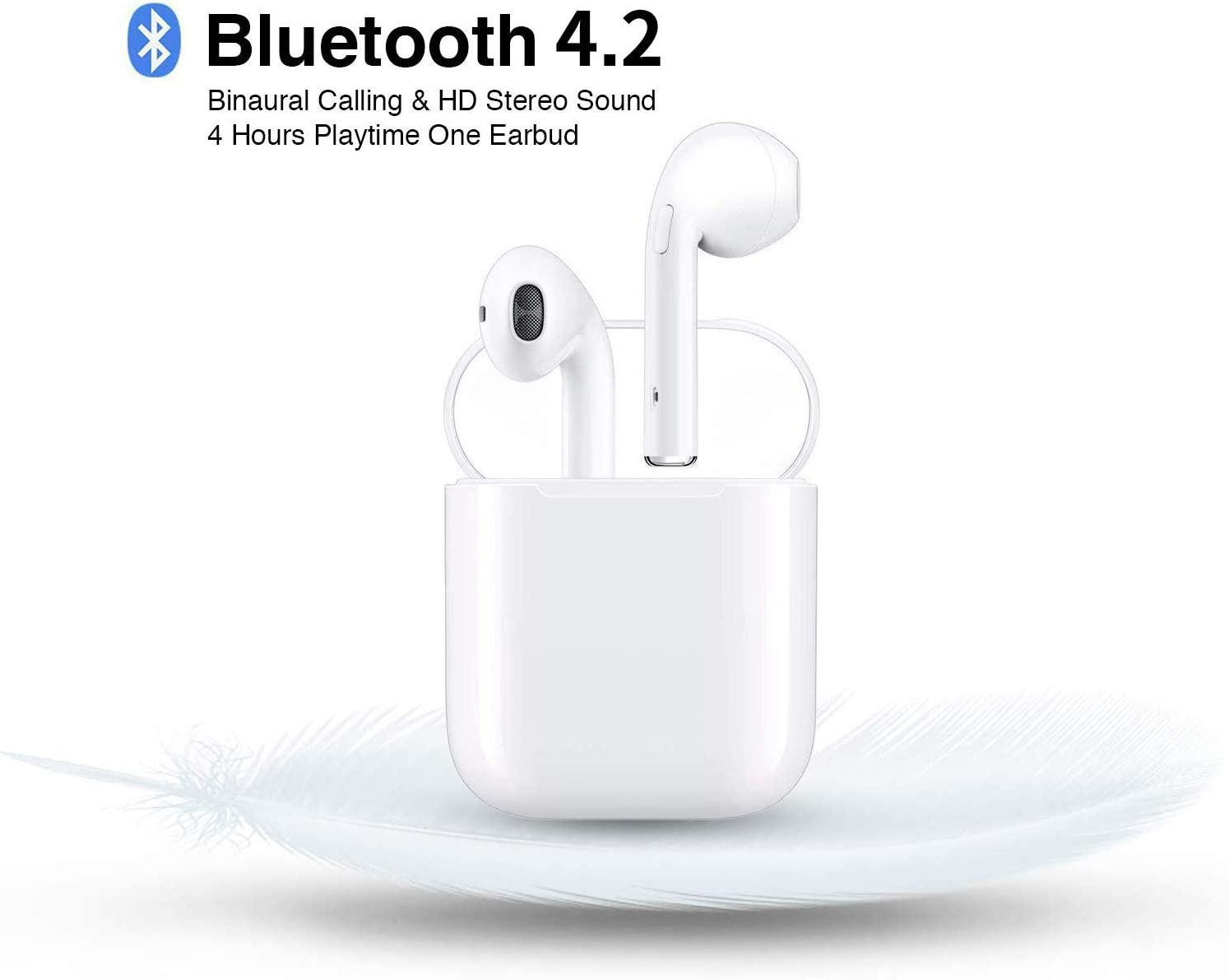 Wireless Bluetooth Earbuds with Portable Charging Case Anti-Sweat Earplugs Gym Running Long Battery Life in-Ear Noise Cancelling Stereo Headset for All Smartphones