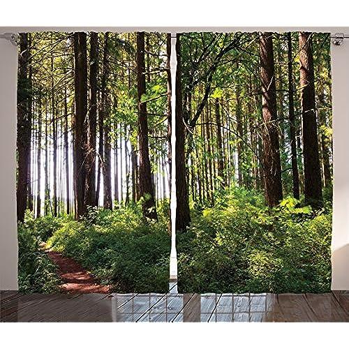 Window Curtains Forest Theme Amazon Com