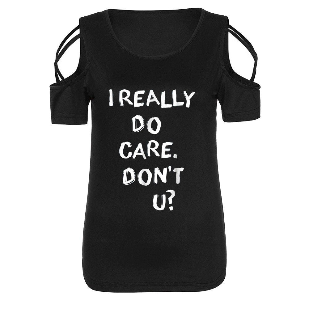 Libermall Women's Casual Summer Short Sleeve T-Shirts Letter Print Cold Shoulder Loose Tunic Shirt Blouse Tops Black by Libermall Blouses (Image #5)