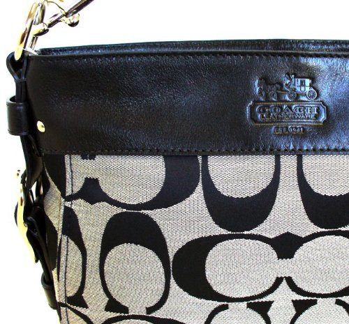 b644497fa5471 Amazon.com  Coach Zoe Large Signature Shoulder Bag - 12674 (Black   White)   Clothing