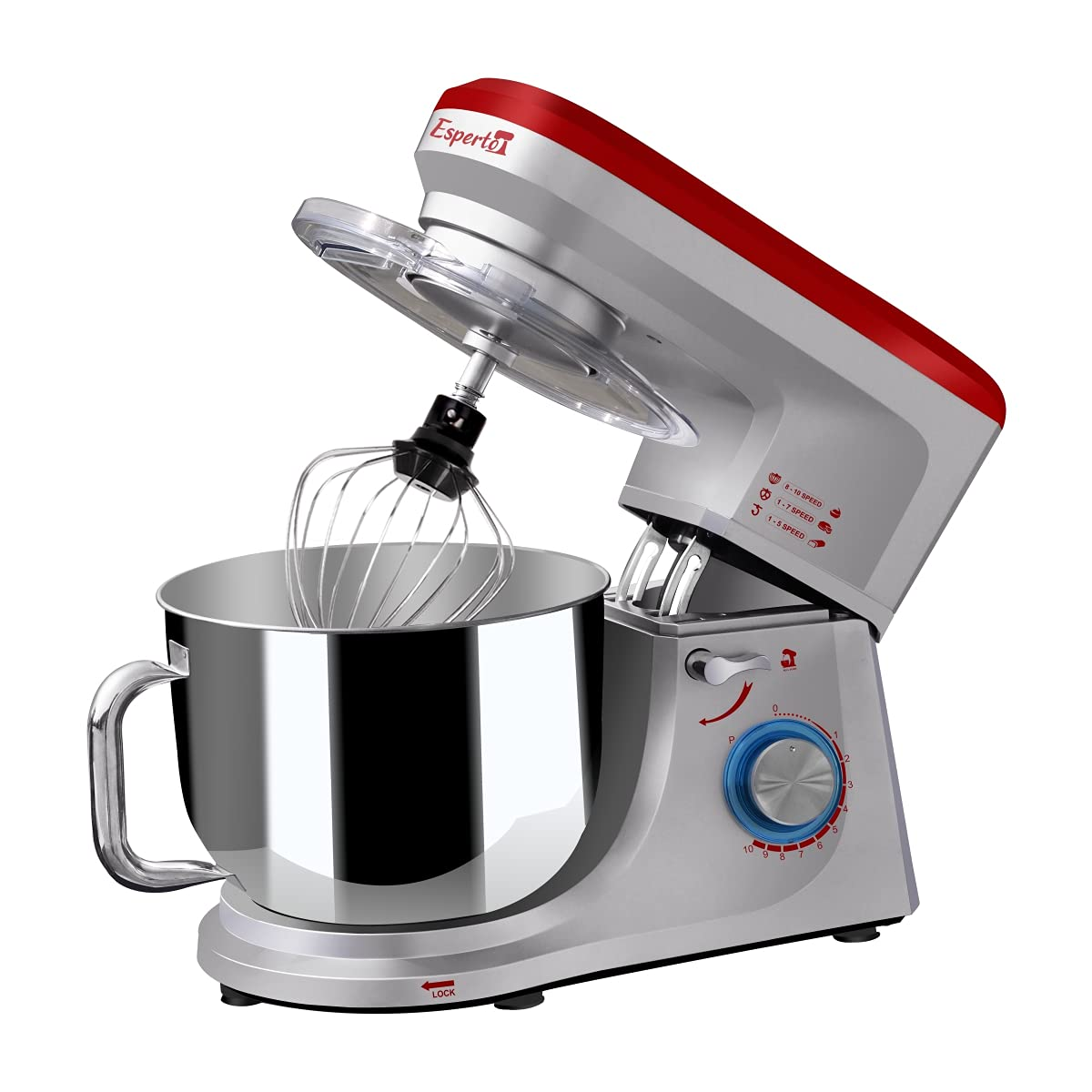Inalsa Stand Mixer Esperto-1400W | 100% Pure Copper Motor| 6L SS Bowl| Includes Whisking Cone, Mixing Beater & Dough Hook (Silver/ Red): Amazon.in: Home & Kitchen