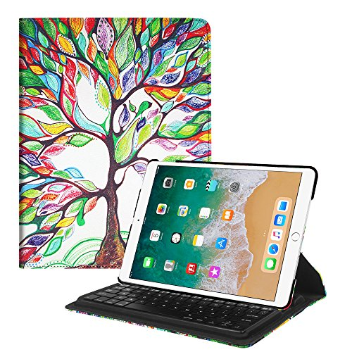 Fintie iPad Pro 10.5 Keyboard Case - 360 Degree Rotating Stand Cover with Built-in Wireless Bluetooth Keyboard for Apple iPad Pro 10.5 inch 2017, Love Tree by Fintie