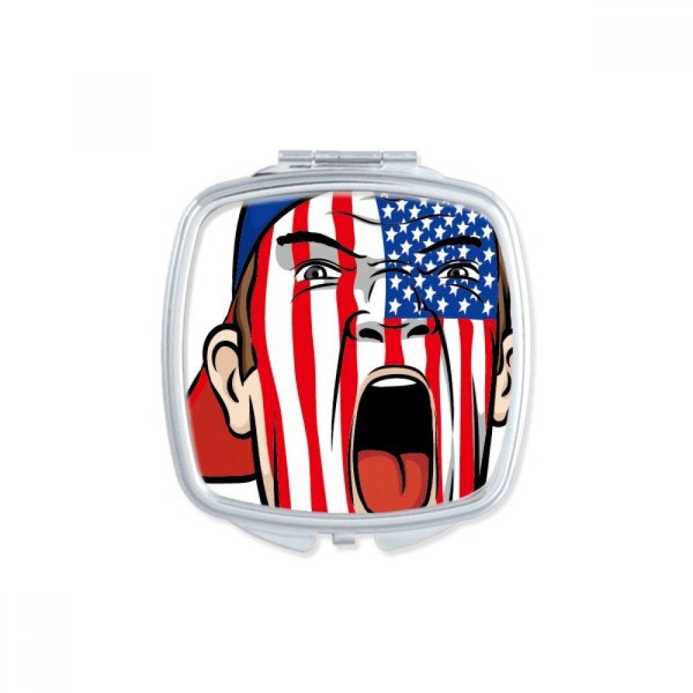 America USA National Flag Facial Painting Makeup Mask Screaming Cap Square Compact Makeup Pocket Mirror Portable Cute Small Hand Mirrors Gift