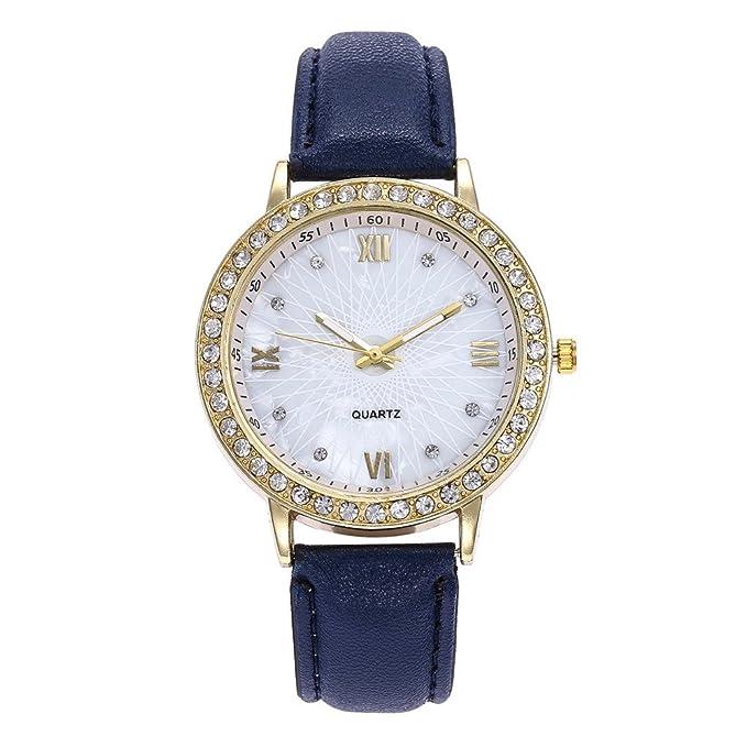 DressLksnf Reloj Lujo Moda de Mujer Pulsera de Diamante Acero Inoxidable Superficie Durable Correa de Cuero Digital Clásico Banda de Reloj Colorado Ajuste ...
