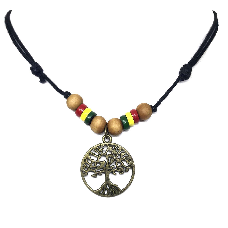 Wood Beaded Celtic Tree of Life Pendant Necklace Rasta plaid Hippie Braid Hawaiian