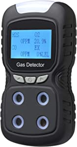 Gas Detector, Rechargeable Portable 4 in 1 Gas Clip 4-Gas Monitor Meter Tester Analyzer Sound Light Shock,2-Year Detector