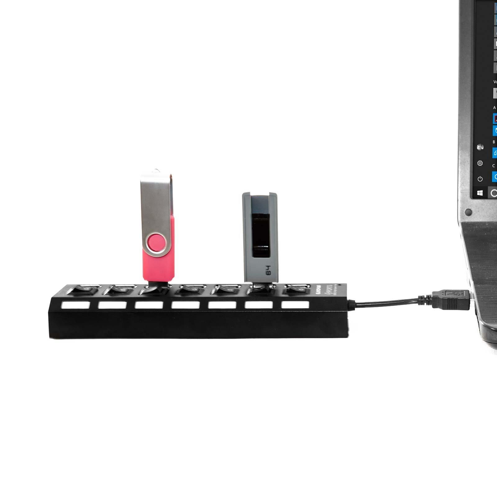LINCIVIUS  USB Hub, Adaptateur hub USB avec 7 Ports USB, Mini Hub USB Coloris Noir, Original [Garantie à Vie]