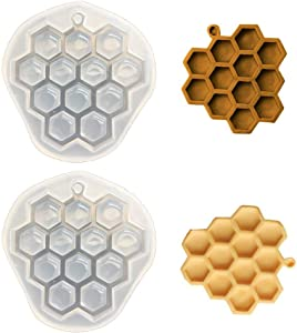 2Pcs Honeycomb Fondant Molds Bee Hive Silicone Mold for Cake Cupcake Decorating Chocolate Candy Mold Baking Kitchen Accessories Pendent Keychain Necklace Epoxy Resin Mold (Grey & Translucent)