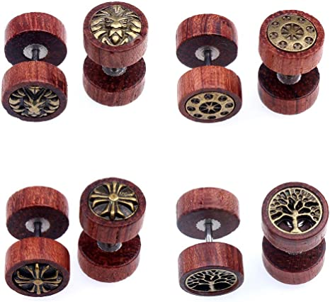 4 Pares Pack Acero Inoxidable Madera Pendientes Hombres Mujer ...